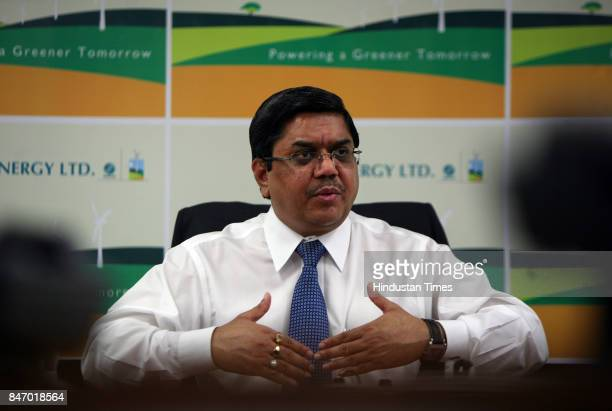 Tulsi Tanti Chairman managing director of Suzlon Energy during announcement of suzlon secures cooperation agreement with areva on REpower at his...