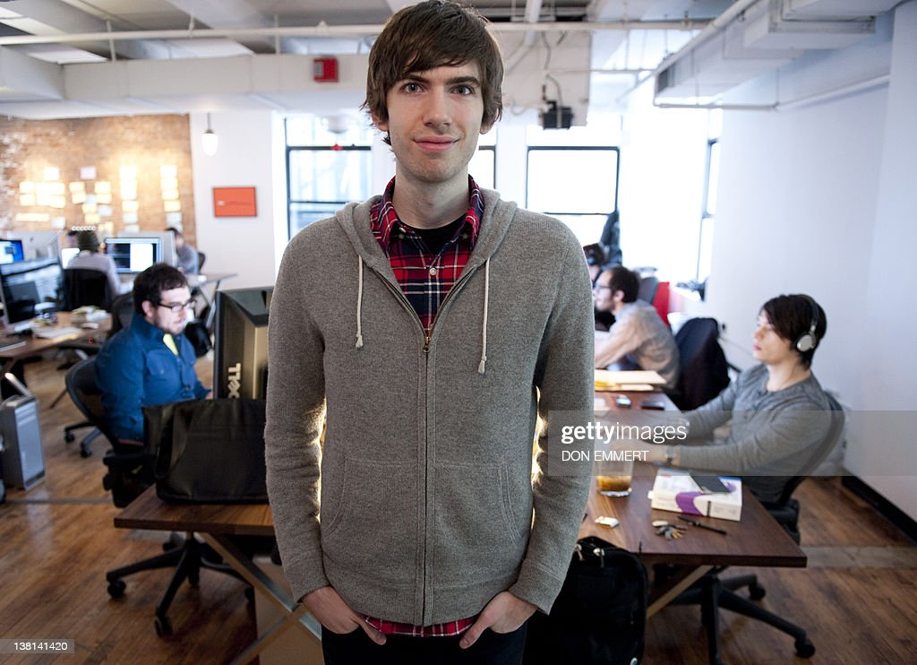 Tumblr-founder David Karp poses for a photo in the headquarters of the microblogging platform and social networking website on February 2, 2012 in New York. The website, which allows users to post text, images, videos, links, quotes and audio to their tumblelog, a short-form blog, was founded by Karp in 2007. AFP PHOTO/DON EMMERT
