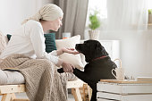 Tumor patient caressing her dog while on a pet therapy