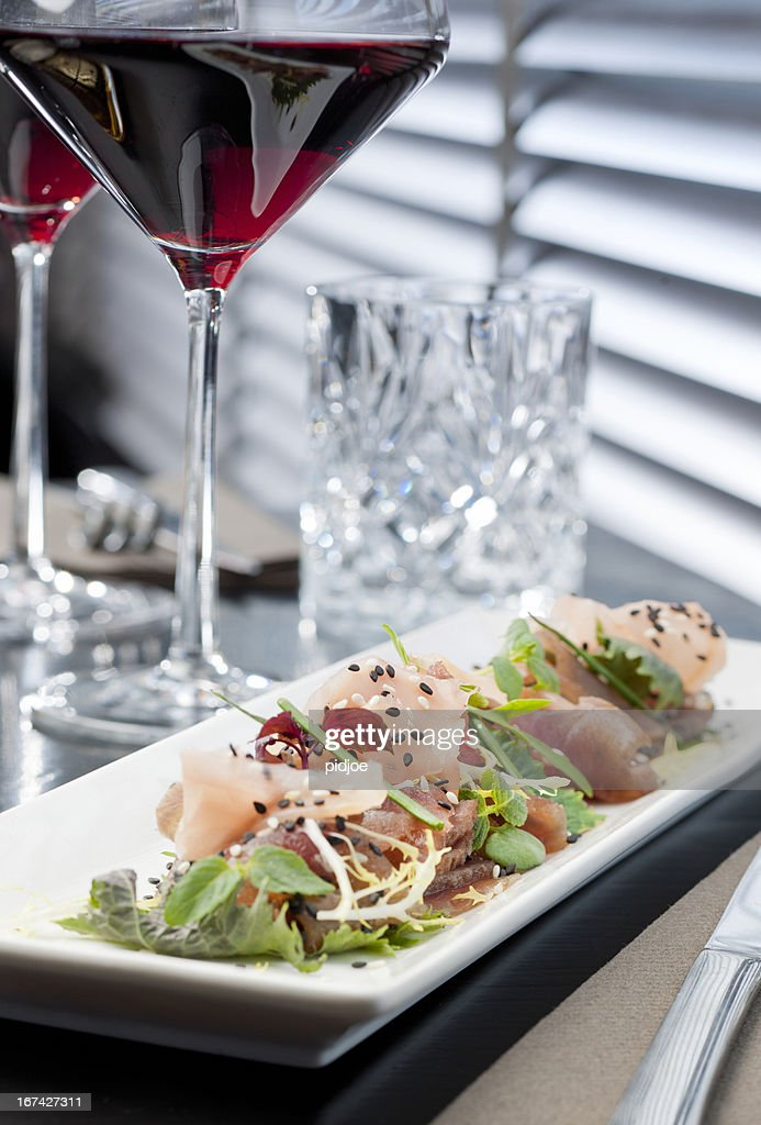 tuna and salmon sashimi : Stock Photo