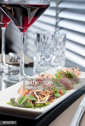 tuna and salmon sashimi : Stock Photo
