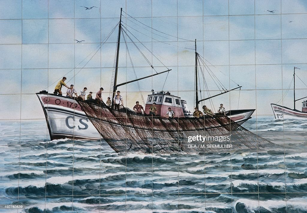 Tuna fishing, Azulejos, Portugal, 20th century.