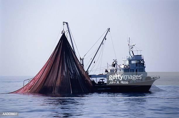 Tuna Fishing Boat Raising its Fishing Net