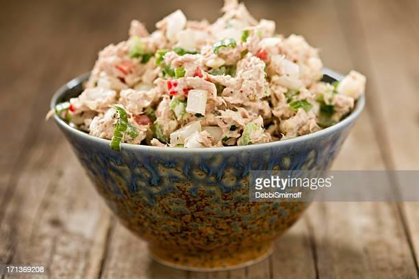 Tuna Salad In A Fancy Blue Bowl