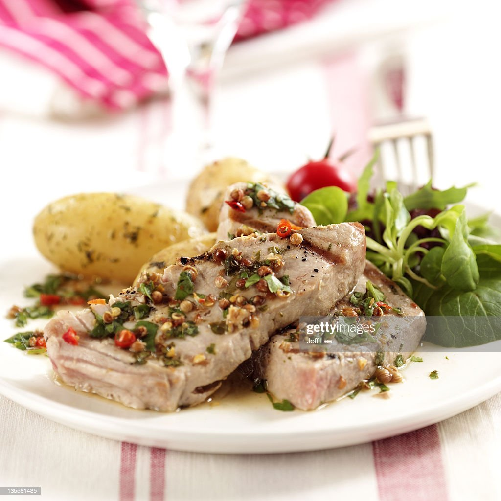 Tuna steak with coriander marinade : Stock Photo