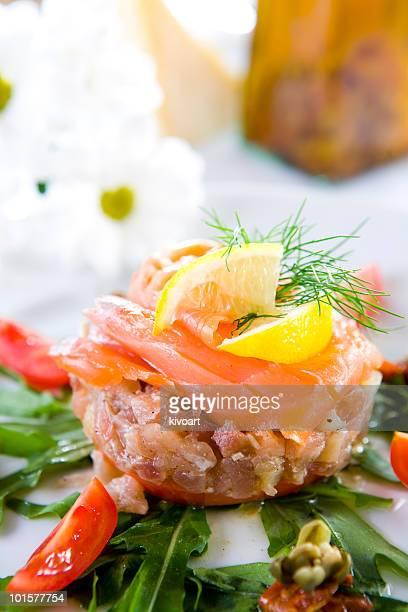 tuna steak with smoked salmon