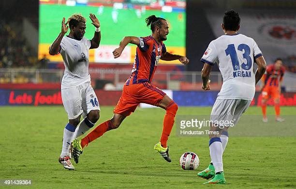 Tuncay Sanil of FC Pune City controls the ball against Mumbai City FC during the Indian Super League match at Shree Shiv Chhatrapati Sports Complex...