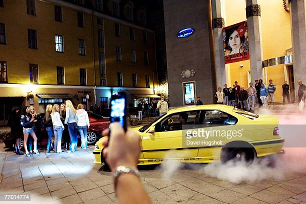 A tuned BMW doing a burnout in front of the night club Hollywood September 15 2006 in Tallinn Estonia Once a month the night club held a car theme...