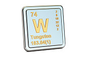 Tungsten W, wolfram chemical element sign. 3D rendering isolated on white background