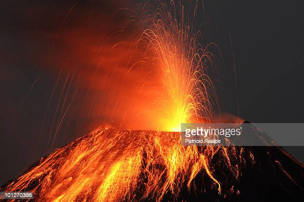 Tungurahua volcano throws ashes and stones during an explosion on May 29 2010 in Cotalo Ecuador Tungurahua is one of the most active and highest...