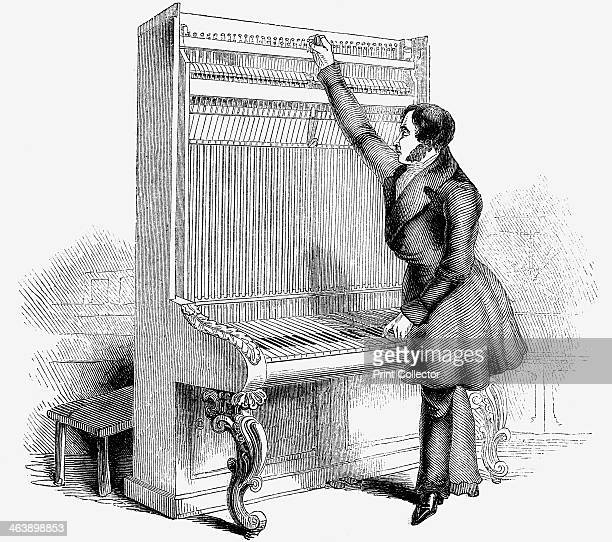 Tuning a Broadwood Cabinet piano London 1842 Wood engraving