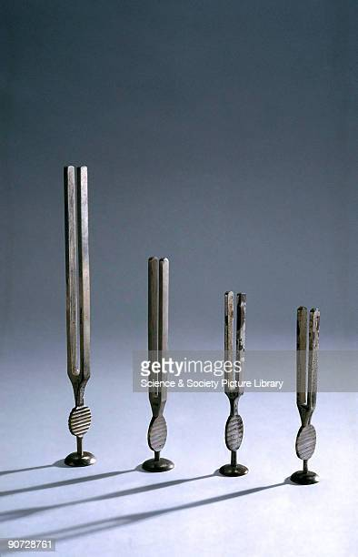 Tuning forks invented by Gardiner Brown Left to right made by Arnold and Sons England c 18511895 English made c 18411920 possibly of Brown's type but...