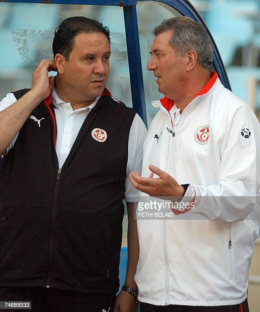 French head coach of the Tunisian team Roger Lemerre with his assistant Nabil Maaloul during the African Cup 2008 African group 4 qualifying football...