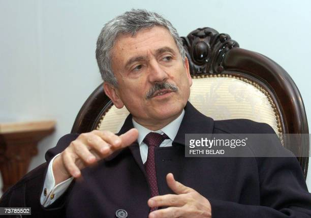 Italian Minister for Foreign Affairs Massimo D'Alema talks during his meeting with Tunisian Secretary of State of the Ministry of Foreign Affairs...