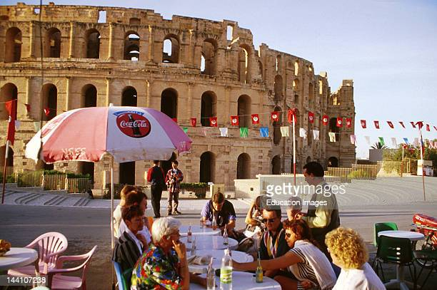 Tunisia El Jem Sidewalk Cafe At The Roman Coliseum
