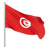 Tunisia flag blowing in the wind. Background texture. 3d rendering, waving flag. Isolated on white. Illustration.