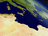 Tunisia with surrounding region as seen from Earth's orbit in space. 3D illustration with highly detailed planet surface and clouds in the atmosphere. Elements of this image furnished by NASA..