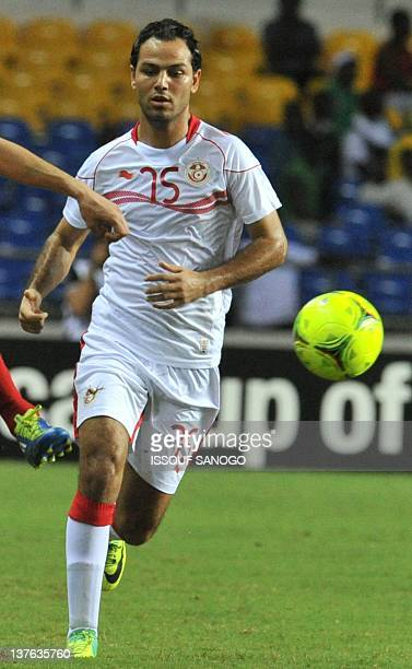 Tunisia national football team striker Zouhaier Dhaouadi controls the ball at the Stade de l'Amitie on January 23 2012 in Libreville during the 2012...