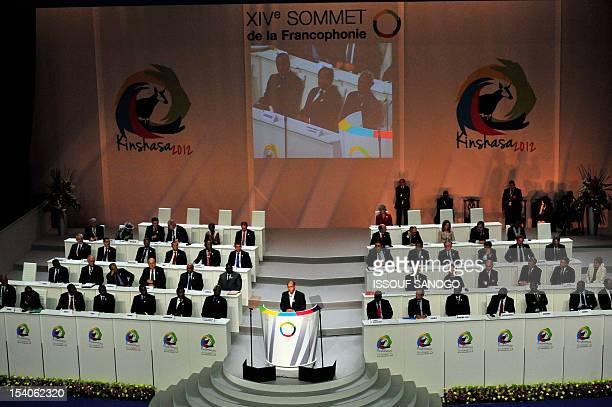 Tunisia president Moncef Marzouki delivers a speech at the opening of the Frenchspeaking nations 'Francophonie' summit in Kinshasa on October 13 2012...