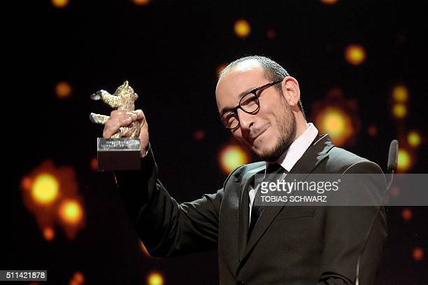 Tunisian actor Majd Mastoura celebrates receiving the Silver Bear for best actor for the film 'Hedi' during the awards ceremony of the 66th Berlinale...