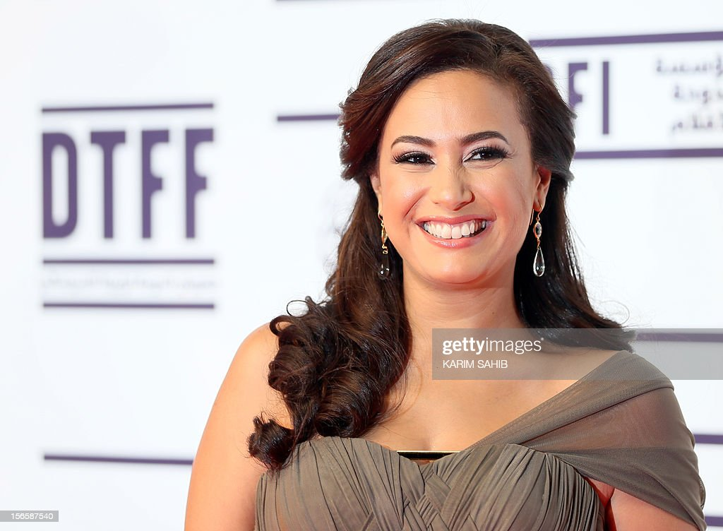 Tunisian actress Hind (Hend) Sabry (Sabri) attends the opening night of the Doha Tribeca Film Festival in the Qatari capital, on November 17, 2012.