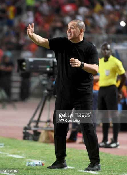 Tunisian coach Nabil Maaloul reacts during the World Cup 2018 qualifying football match between Tunisia and Conge RD on September 1 2017 at the Rades...