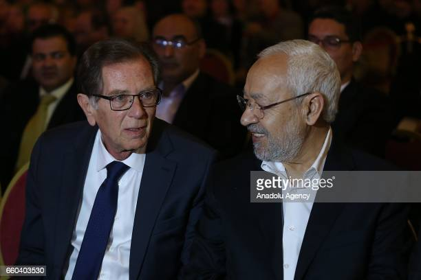 Tunisian EnNahda Movement leader Rached Ghannouchi and Palestinian Ambassador to Tunisia Heil El Fahoum attends the 41st Palestinian Land Day at...