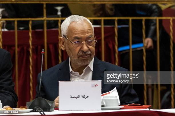 Tunisian EnNahda Movement leader Rached Ghannouchi attends a press conference held by the Independent High Authority for Elections of Tunisia...