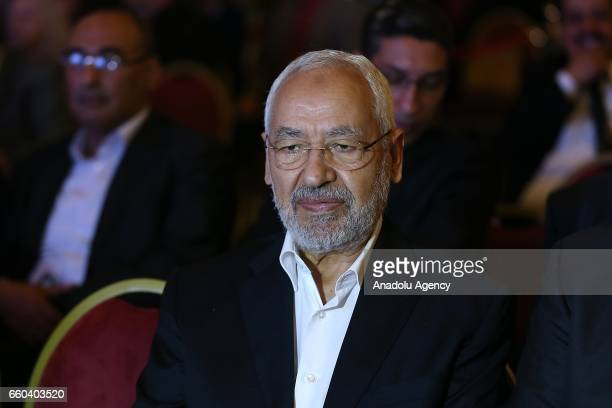 Tunisian EnNahda Movement leader Rached Ghannouchi attends the 41st Palestinian Land Day at Conference Palace in Tunis Tunisia on March 30 2017
