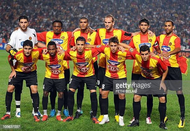 Tunisian Esperance de Tunis players pose during their African Champions League football match semifinal against Egyptian AlAhly on October 17 2010 in...