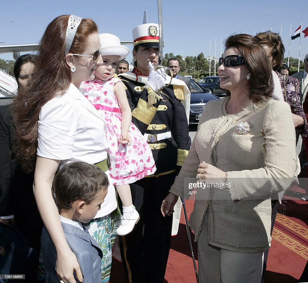 Tunisian First Lady <a gi-track='captionPersonalityLinkClicked' href=/galleries/search?phrase=Leila+Ben+Ali&family=editorial&specificpeople=3198746 ng-click='$event.stopPropagation()'>Leila Ben Ali</a> (R) greets with Morocco's Princess Lalla Salma (L) of Morocco upon her arrival in Tunis to attend the opening ceremony of the fourth meeting of Supreme Council of the Arab Women Organization (AWO) on June 25, 2009 in Tunis.