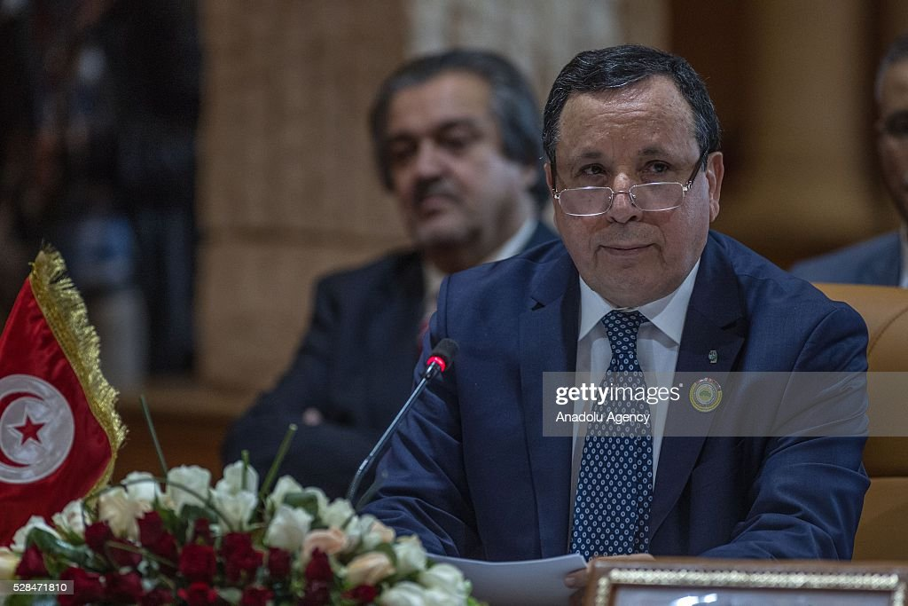 Tunisian Foreign Minister Khamis al-Jehinawi delivers a speech during 34th Arab Maghreb Union Foreign Ministers meeting at Golden Tulip in Tunis, Tunisia on May 5, 2016.