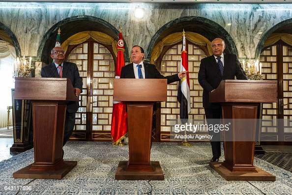Tunisian Foreign Minister Khemaies Jhinaoui Algerian Minister for Maghreb and Africa Affairs Abdel Kadir Mesahil and Egyptian Foreign Minister Sameh...