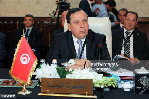 Tunisian Foreign Minister Khemaies Jhinaoui attends the preparatory meeting of Arab Foreign Ministers during the 28th Summit of the Arab League at...