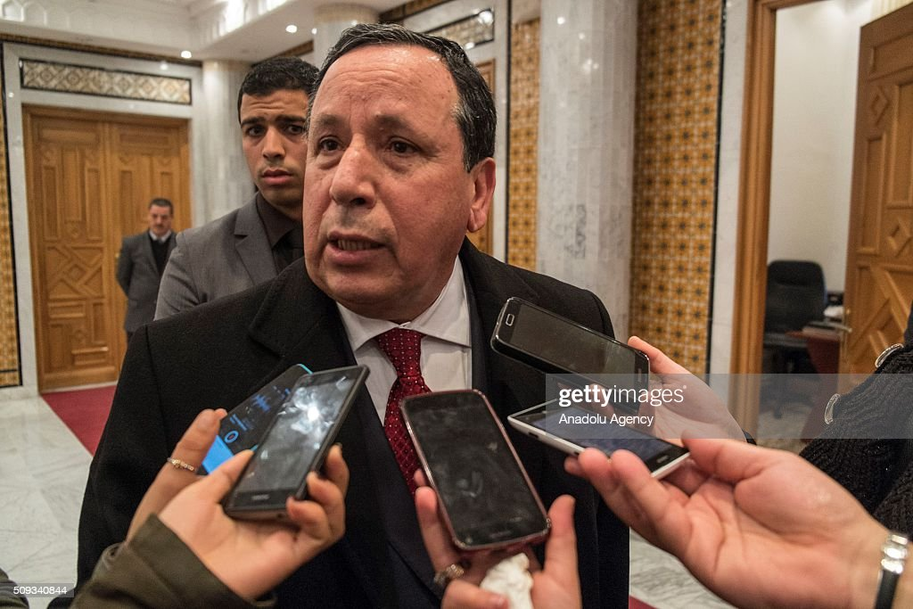Tunisian Foreign Minister Khemaies Jhinaoui speaks to media after a meeting with Foreign Minister of Denmark, Kristian Jensen (not seen) at Foreign Ministry Building in Tunis, Tunisia on February 10, 2016.