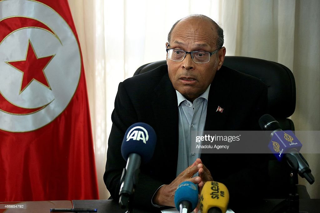 Tunisian former President <a gi-track='captionPersonalityLinkClicked' href=/galleries/search?phrase=Moncef+Marzouki&family=editorial&specificpeople=2893986 ng-click='$event.stopPropagation()'>Moncef Marzouki</a> delivers a speech about the Bardo Museum attack in Tunis, Tunisia on March 19, 2015.