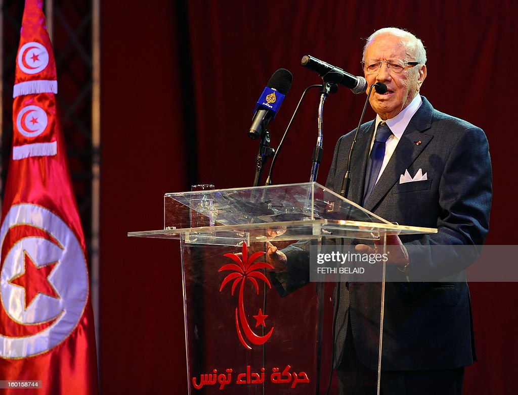 Tunisian former prime minister and opposition leader, Beji Caid Essebsi gives a speech during an open day to mark the first anniversary of his party 'Nidaa Tounes' on January 27, 2013, at the Congress Hall of Tunis. Essebsi, has shown its support with the call of the prime minister Hamadi Jebali for a national dialogue and pointed out in his speech that the current government has failed on all fronts and that the change should be radical without stopping simply a cabinet reshuffle. AFP PHOTO / FETHI BELAID