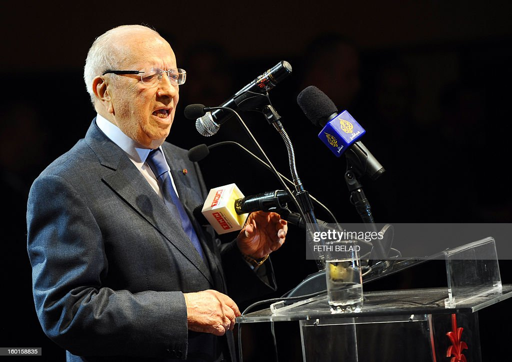 Tunisian former prime minister Beji Caid Essebsi gives a speech during an open day to mark the first anniversary of his party 'Nidaa Tounes' on January 27, 2013, at the Congress Hall of Tunis. Essebsi, has shown its support with the call of the prime minister Hamadi Jebali for a national dialogue and pointed out in his speech that the current government has failed on all fronts and that the change should be radical without stopping simply a cabinet reshuffle. AFP PHOTO / FETHI BELAID