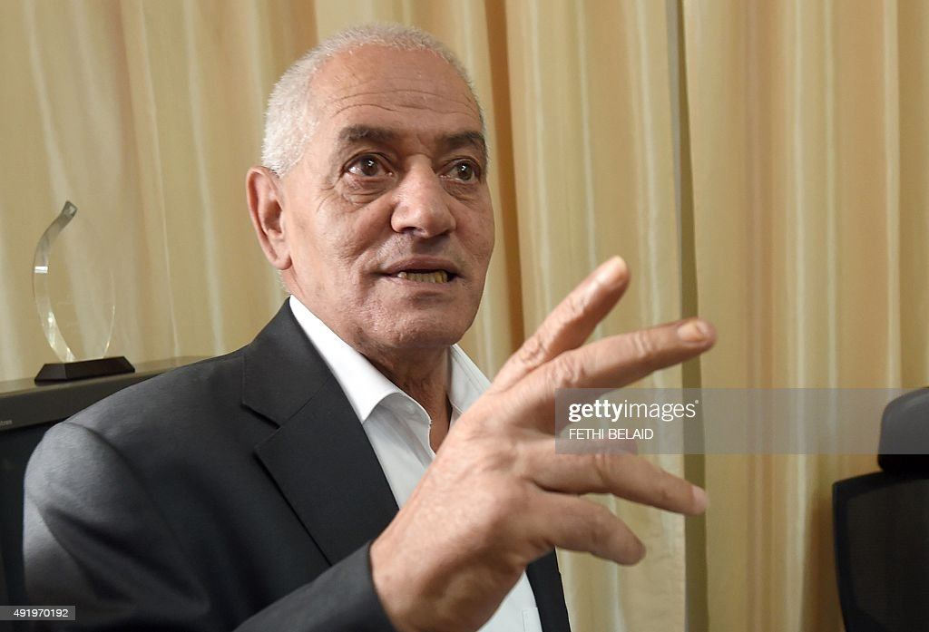 Tunisian General Labour Union (UGTT)'s secretary general, <a gi-track='captionPersonalityLinkClicked' href=/galleries/search?phrase=Houcine+Abassi&family=editorial&specificpeople=8767639 ng-click='$event.stopPropagation()'>Houcine Abassi</a>, speaks with journalists at his office in Tunis on October 9, 2015, after he was awarded the 2015 Nobel Peace Prize with other members of Tunisian National Dialogue Quartet. The Norwegian Nobel Commitee announced that Tunisian mediators of the so called National Dialogue Quartet (Tunisian General Labour Union UGTT, Confederation of Industry, Tunisian Trade and Handicrafts UTICA, Tunisian Human Rights League LTDH and Tunisian Order of Lawyers) won the 2015 Nobel Peace Prize. AFP PHOTO / FETHI BELAID