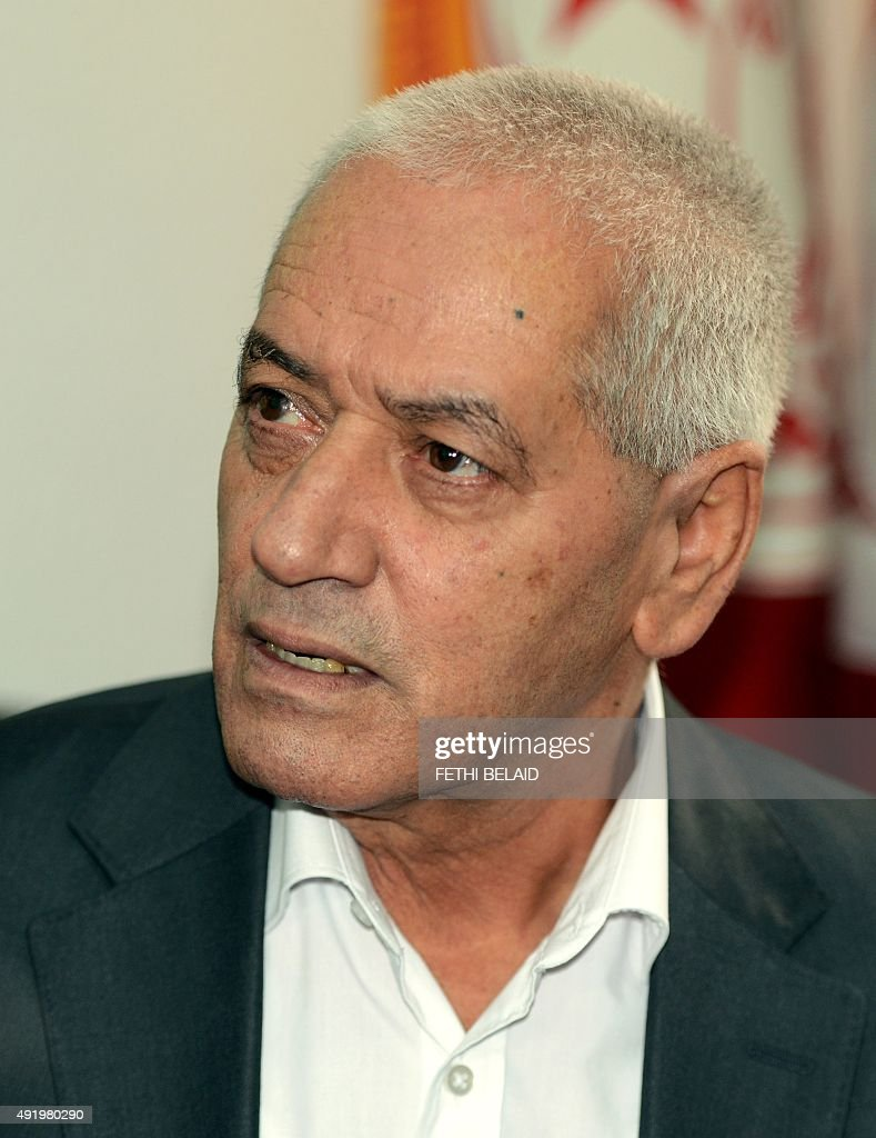 Tunisian General Labour Union (UGTT)'s secretary general, <a gi-track='captionPersonalityLinkClicked' href=/galleries/search?phrase=Houcine+Abassi&family=editorial&specificpeople=8767639 ng-click='$event.stopPropagation()'>Houcine Abassi</a>, speaks with journalists at his office in Tunis on October 9, 2015, after he was awarded the 2015 Nobel Peace Prize with other members of Tunisian National Dialogue Quartet. The Norwegian Nobel Commitee announced that Tunisian mediators of the so called National Dialogue Quartet (Tunisian General Labour Union UGTT, Confederation of Industry, Tunisian Trade and Handicrafts UTICA, Tunisian Human Rights League LTDH and Tunisian Order of Lawyers) won the 2015 Nobel Peace Prize.