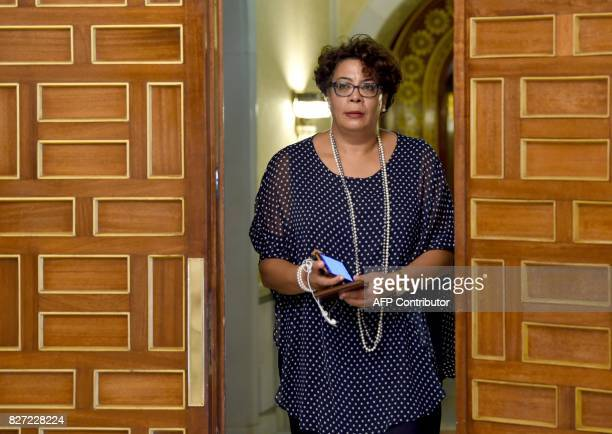 Tunisian lawyer Saida Garrach Adviser to the President of the Republic arrives for a meeting between the Tunisian President and Libya's UNbacked...