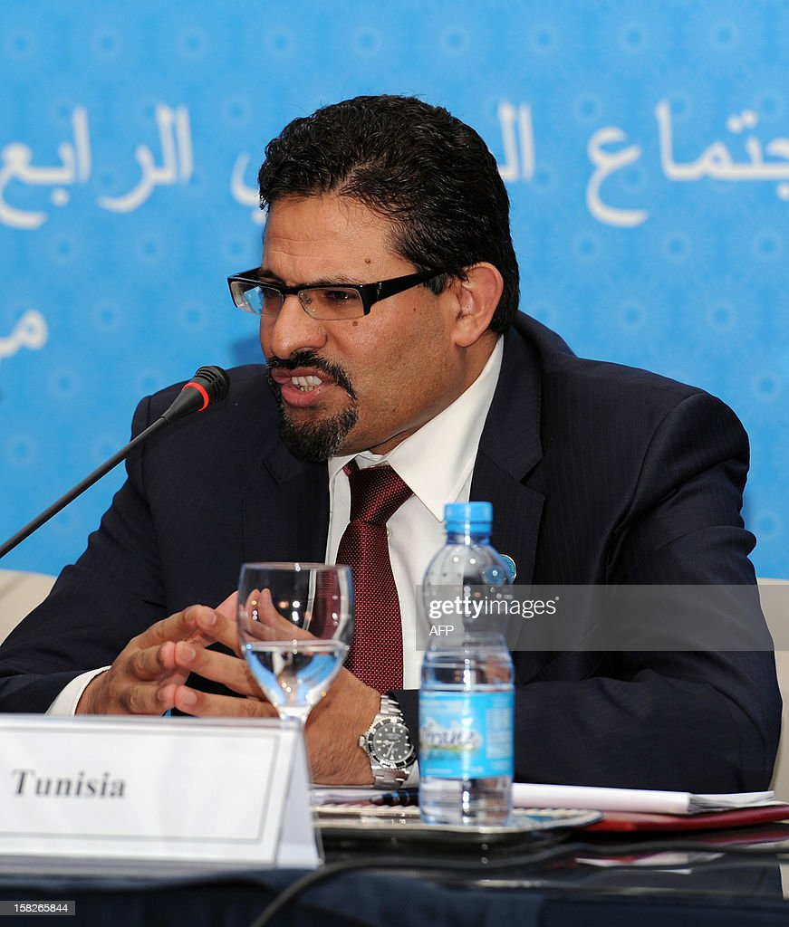 Tunisian Minister of Foreign Affair Rafik Abdessalem speaks at the Friends of Syria conference in Marrakesh on December 12, 2012. The talks on the 21-month conflict rocking Syria brought together representatives from 114 countries, including about 60 ministers, the Syrian opposition and international organisations.