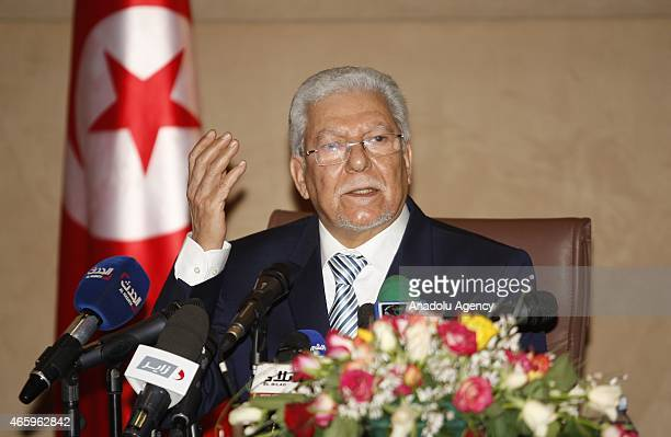 Tunisian Minister of Foreign Affairs Taieb Baccouche holds a joint press conference with Algeria's Foreign Minister Ramtane Lamamra at the Ministry...