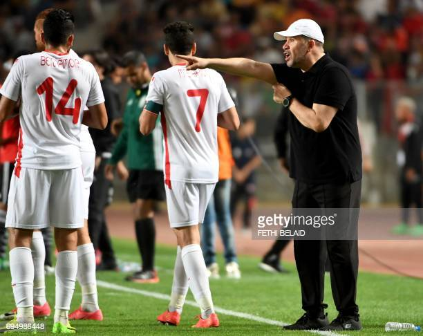 Tunisian new coach Nabil Maaloul reacts during their African Cup of Nations CAN 2019 preliminary stage qualification football match in Rades on June...