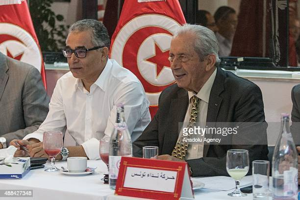 Tunisian Parliament Speaker Mohammed Nasser and Secretary General of Nidaa Tounes Mohsen Marzouk attend a meeting of Tunsian political parties at...