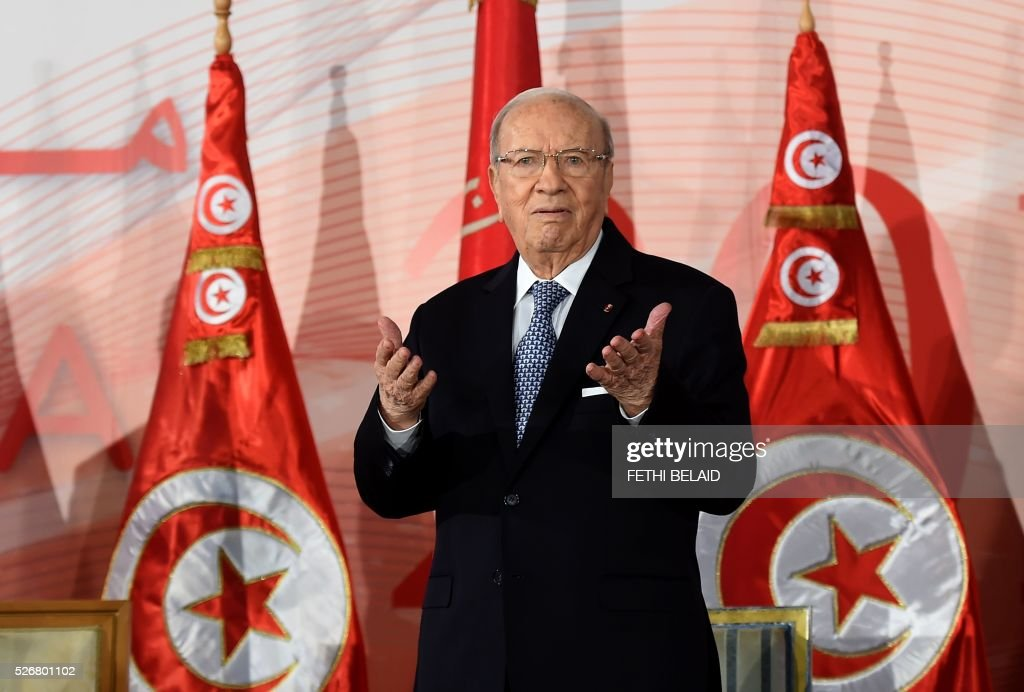 Tunisian President Beji Caid Essebsi attends a May Day celebration on May 1, 2016 in the capital Tunis. / AFP / FETHI