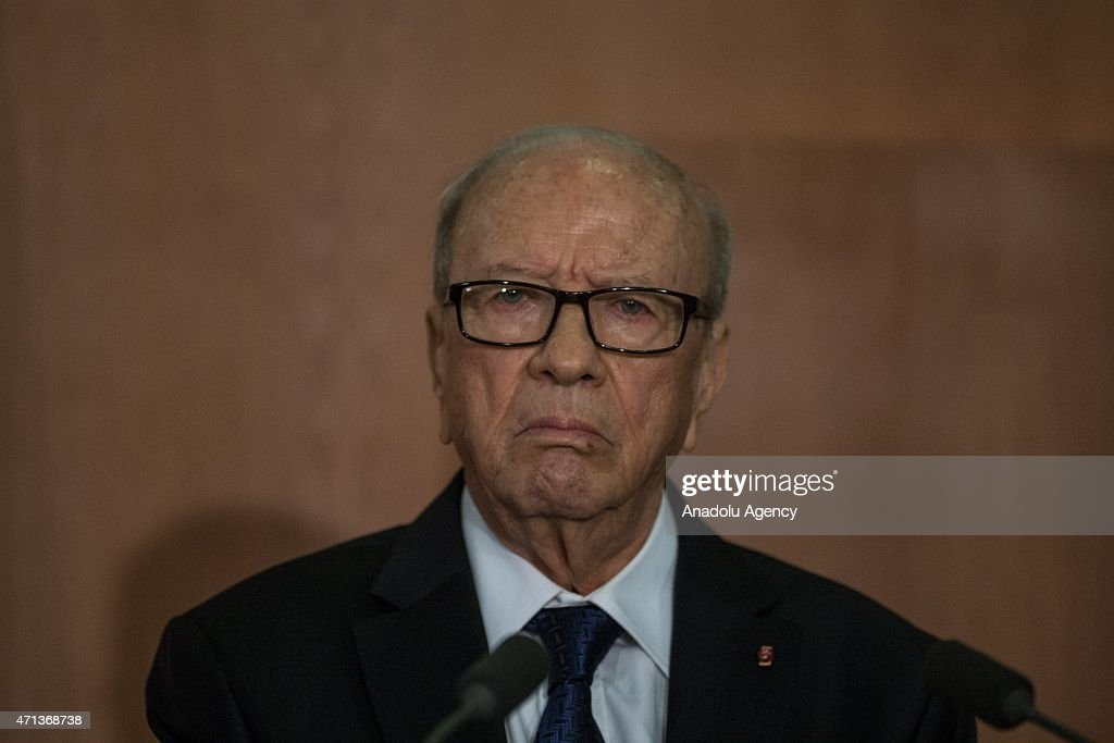 Tunisian President <a gi-track='captionPersonalityLinkClicked' href=/galleries/search?phrase=Beji+Caid+Essebsi&family=editorial&specificpeople=998512 ng-click='$event.stopPropagation()'>Beji Caid Essebsi</a> holds a joint press conference with his German counterpart Joachim Gauck (not seen) after a meeting at Carthage Palace in Tunis, Tunisia on April 27, 2015.