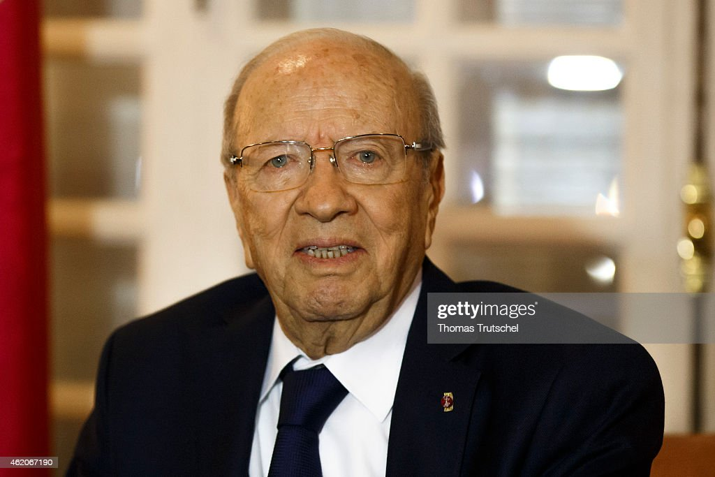 Tunisian President <a gi-track='captionPersonalityLinkClicked' href=/galleries/search?phrase=Beji+Caid+Essebsi&family=editorial&specificpeople=998512 ng-click='$event.stopPropagation()'>Beji Caid Essebsi</a> is pictured during a meeting with German Foreign Minister Frank-Walter Steinmeier (not pictured) on January 23, 2015 in Tunis, Tunisia.