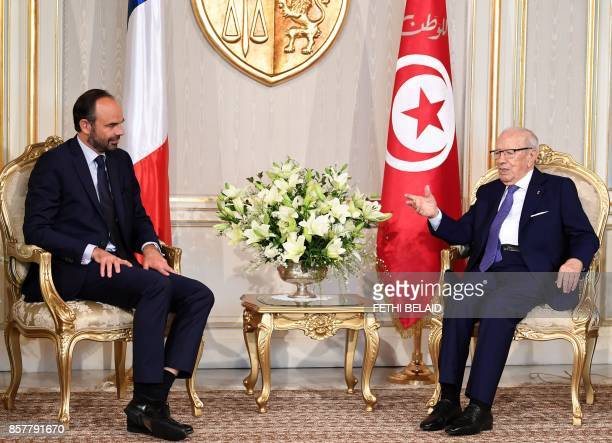 Tunisian President Beji Caid Essebsi meets French Prime Minister Edouard Philippe on October 5 2017 in Tunis Philippe in on one day official visit to...