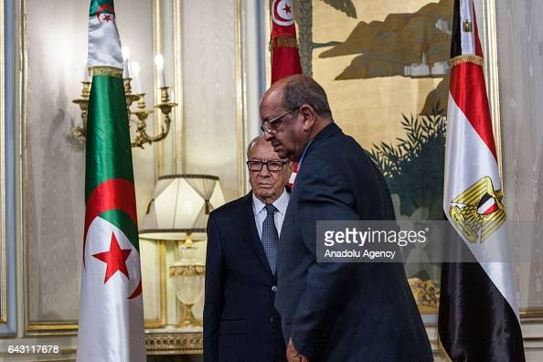 Tunisian President Beji Caid Essebsi meets with Algerian Minister for Maghreb and Africa Affairs Abdel Kadir Mesahil Tunisian Foreign Minister...